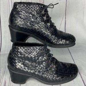 Stephane Kelian Woven Ankle Boots Lace Up Black